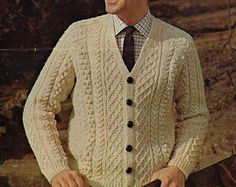 mens aran cardigan knitting pattern PDF mens aran jacket v neck cardigan Cable Cardigan, Cream Cardigan, V Neck Cardigan, Cardigan Pattern, Aran Knitting Patterns, Knit Patterns, Vintage Patterns, Sweater Patterns, Baby Sweaters