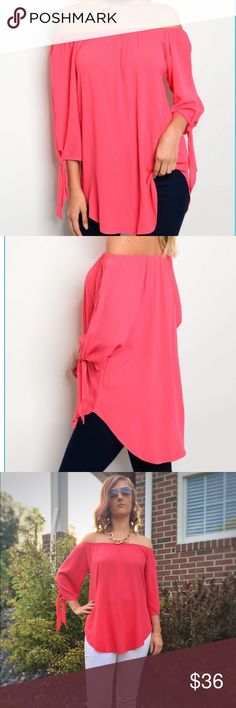 "S-M-L Coral pink off the shoulder top Coral off the shoulder top has elasticized neckline, 3/4 sleeves with ties and a curved hemline. 96% rayon 4% spandex. Cool and comfortable! S-bust 19"", length (from neckline to hem) 27"", M-bust 20"", length 28"", L-bust 21"", length 29"". Made in USA! Tops Blouses"