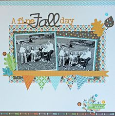 A Fine Fall Day - Scrapbook.com.......Nicely balanced, sweet patterned paper for a little color.