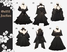 Dress Design Sketches, Fashion Design Drawings, Fashion Sketches, Pretty Outfits, Pretty Dresses, Cute Outfits, Anime Outfits, Fashion Outfits, Cosplay Outfits
