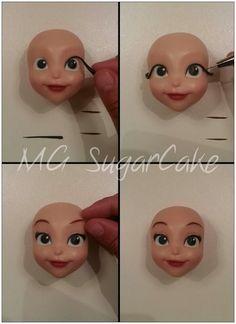 MG Sugarcake Princess Sofia face 6 Fondant Face Tutorial, Fondant Figures Tutorial, Cake Topper Tutorial, Fondant Bow, Fondant Cake Toppers, Fondant Flowers, Fondant Cakes, Polymer Clay Figures, Polymer Clay Dolls