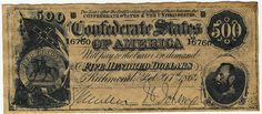 1864 Confederate currency (500 dollars)