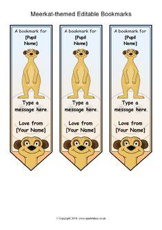 Meerkat Themed Editable Bookmarks SB11475