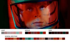 film movies still color Stanley Kubrick closeup graphic design cinematography DP 2001 A Space Odyssey kubrick color palette pantone set design color inspiration production design Director of Photography geoffrey unsworth Stanley Kubrick, Movies In Color, Color In Film, Movie Color Palette, Colour Pallette, Colour Schemes, Cinema Colours, Andreas Gursky, 2001 A Space Odyssey