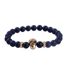 Mouse over to Zoom - Click to enlarge       Click to view larger image and other views                                                                                                                                                                  Details about  Fashion Black Matte Agate Stone Bead 24k Gold&Silver Skull Men Bracelet 7.8 inch