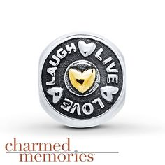 Charmed Memories Live Love Laugh Charm Sterling Silver/10K Gold