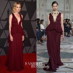 "601 Likes, 4 Comments - Fashion Bomb Daily (@fashionbombdaily) on Instagram: ""#CareyMulligan wore a burgundy @giambattistavalliparis FW17 Couture gown to the #GovernorsAwards in…"""