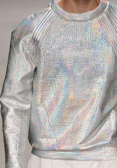 Iridescent silver sweatshirt at the Juun.J