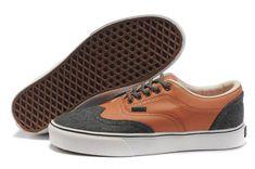 Mens Vans Brown/Grey Classics Leather/Canvas Era