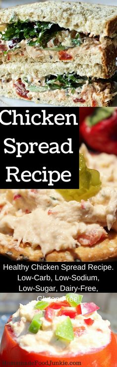 Healthy chicken spread recipe. Low-​Carb, Low-​Sodium, Low-​Sugar, Dairy-​Free, Gluten-​Free! http://HomemadeFoodjJunkie.com