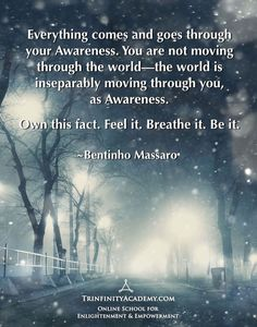 Bentinho Massaro - Everything comes and goes through your Awareness - Inspirational Quotes - NOW FREE https://www.trinfinityacademy.com | https://www.trinfinity.us/