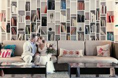Great bookshelf photo-op #coolbackdrops