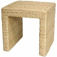 Oriental Furniture Simple Rustic Beautiful, 18 Inch Woven Natural Fiber Water  Hyacinth Square End