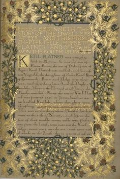 Illumination by William Morris of 'The Story of the Dwellers at Eyr'