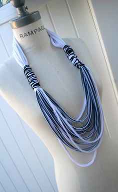 T-Shirt Necklace - I've heard these are easy DIYs and love the ombré and these colors.