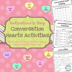 Valentine's Day Conversation Heart Activities. Candy Heart Math and ELA! This product will allow your students to have fun with conversation hearts while still engaging them in learning! This product includes 4 math worksheets and 4 writing worksheets, all using conversation hearts. These activities are VERY low prep for you! See it here: https://www.teacherspayteachers.com/Product/Conversation-Hearts-Candy-Math-Valentines-Day-1631413