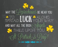 St Patricks Day Blessing Chalk Art Printable madeinaday.com
