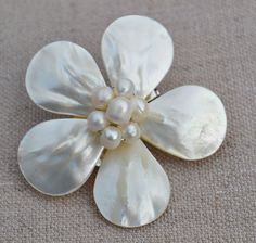 pearl brooch,shell brooch,flower brooch,wedding party,bridesmaid gift,pearl jewelry.free shipping. $9.00, via Etsy.