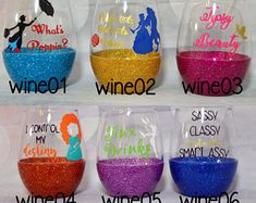This item is unavailable Disney Wine Glasses, Fun Wine Glasses, Glitter Wine Glasses, Glitter Cups, Painted Wine Glasses, Stemless Wine Glasses, Shot Glasses, Wine Glass Crafts, Mason Jar Crafts
