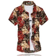 22 Colors Muticolors Fashion Short Sleeve Silk Hawaiian Shirt Men Summer Casual Floral Shirts Men Plus Size Casual Outfits, Men Casual, Casual Shirt, Casual Clothes, Floral Print Shirt, Floral Shirts, Metal Shirts, Red Shorts, Summer Shirts