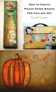 Tips for creating pieced paper shapes for mixed media collage