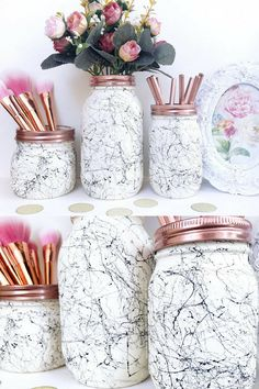 White marble, black marble effect ball mason jar, marble desk accessories, marble decor, makeup brush holder, teen room, marble storage jar #ad