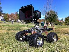 """DSLR Camera mounted to RC Car Rig, for a """"Dogs POV"""" shot."""