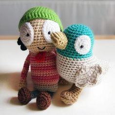 Sarah and Duck amigurumi crochet pattern by Ham and Eggs / Heather Jarmusz