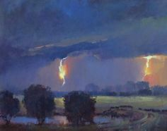 Vaughn stormy sky oil painting