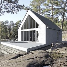 Sunhouse - prefab homes (Finland) Modern Prefab Homes, Modular Homes, A Frame House, Cabins And Cottages, Little Houses, Black House, Exterior Design, Modern Architecture, House Styles