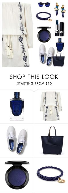 """""""Poly-ish dress and sneakers"""" by onenakedewe ❤ liked on Polyvore featuring Pampelone, Keds, Lacoste, John Lewis, Alex and Ani, Spitfire, keds, navyandwhite, whitesneakers and DressAndSneakers"""