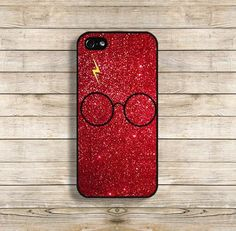 Classic Harry Potter Lightning Bolt Scar and Glasses with Printed Red Glitter on a protective hard case. High Quality Hard Case Available for iPhone 4/4s/5/5S/5