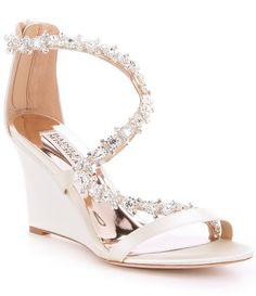 1a056a969c Ivory:Badgley Mischka Bennet Stone-Embellished Satin Wedge Sandals Bridal  Shoes, Wedding Shoes