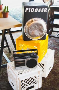 Crates and Faux Speakers from an Old Skool Hip Hop Birthday Party via Kara's…
