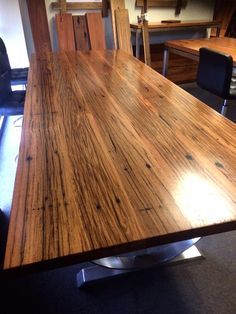 Nullarbor Sustainable Timber offers a range of finely crafted, designer timber tables. Recycled Timber Furniture, Steel Table Legs, Timber Table, Sustainability, Hardwood, Recycling, Decking, Melbourne, Farmhouse Kitchens