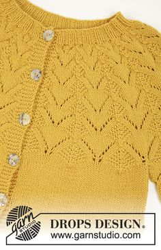 Golden fairy cardigan DROPS 195 23 free knitting patterns by DROPS design Baby Knitting Patterns, Free Knitting, Knitting Tutorials, Shawl Patterns, Crochet Cardigan Pattern, Crochet Jacket, Baby Cardigan, Baby Jumper, Knit Cardigan