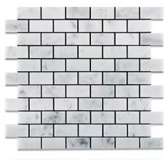 Italian White Carrara 1 x 2 Marble Honed Brick Mosaic Tile. #Brick_mosaic, #Italian, #White_carrara, #Marble_honed