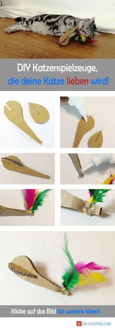 Hohl dir 9 weitere Ideen! Einfach auf das Bild klicken. DIY Katzenspielzeug  #katzenspielzeug #katze #spielen