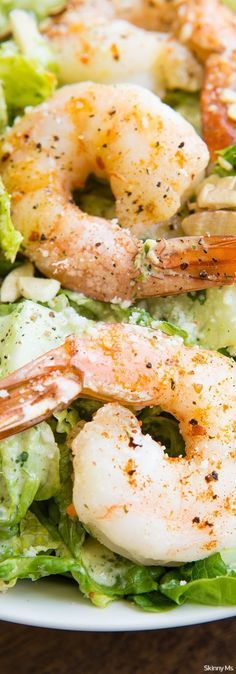 Roasted Shrimp Salad w/Buttermilk Cilantro Dressing. This salad is features lean protein and homemade clean eating dressing that is perfect for a summer lunch! #roastedshrimp #shrimpsalad