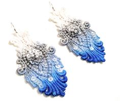Lace Earrings Cobalt Blue Silver White by WhiteBearAccessories, $24.00