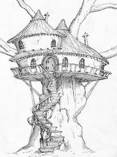 New House Drawing Sketches Illustrations 18 Ideas Fairy Drawings, Cool Art Drawings, Art Drawings Sketches, Drawing Art, Drawing Ideas, Tree Drawings Pencil, City Drawing, Fantasy Drawings, Landscape Sketch