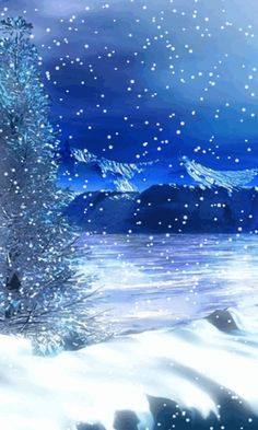 Download Animated 480x800 «Blue winter» Cell Phone Wallpaper. Category: Nature