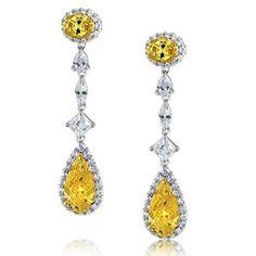 CZ Pave Diamond Canary Yellow Teardrop Chandelier Earrings