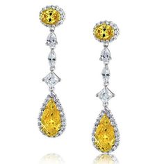 CZ Pave Diamond Canary Yellow Teardrop Chandelier Earrings