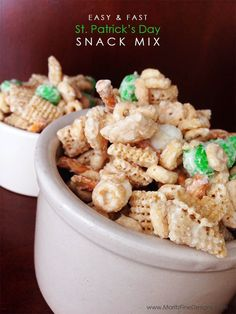 I made this st. patrick's day snack mix in less than 5 minutes and my kids LOVE it! could adapt m&m color for any holiday/occasion!