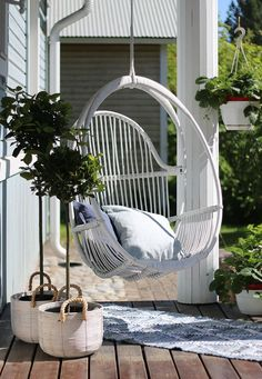 Latest Chairs For Living Room Outdoor Balcony, Outdoor Spaces, Outdoor Living, Hanging Swing Chair, Swinging Chair, Hanging Chairs, Design Shop, Sacred Garden, Terrace Garden