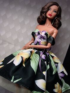 Even though the print on this dress is oversized for the scale of the doll, it works!  Very pretty.
