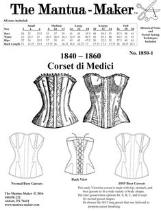 Victorian Corset Pattern: Multi Sized Sewing Pattern for 1840 - New from MantuaMakerPatterns. Victorian Pattern, Victorian Corset, Victorian Era, Vintage Corset, Victorian Ladies, Corset Sewing Pattern, Bra Pattern, Geek Jewelry, Gothic Jewelry