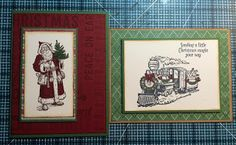 Randi's Crafty Creations: Working on some Vintage Christmas Cards today with my new Stampin Up goodies. Christmas Magic and Father Christmas stamp sets