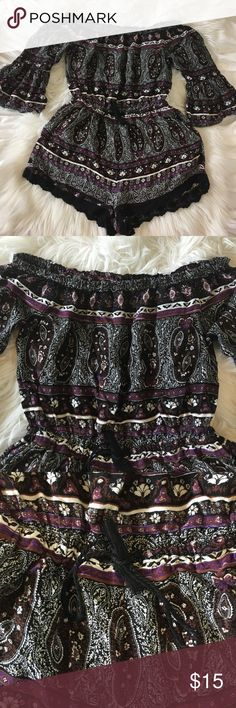 Boho Romper Brand Forever 21 great condition no tears or stains size small off the shoulder inched waisted lace trim on the bottom of the shorts Forever 21 Dresses Mini